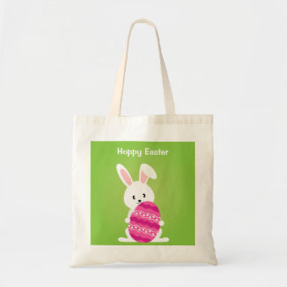 Cute Easter Bunny with Pink Easter Egg Budget Tote Bag