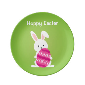 Cute Easter Bunny with Pink Easter Egg Porcelain Plate