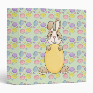 cute easter bunny with yellow egg binder