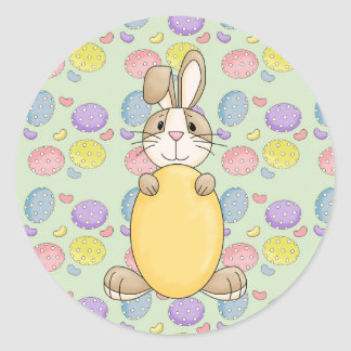 cute easter bunny with yellow egg classic round sticker