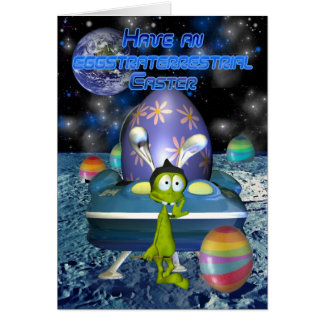 Cute Easter Card with Alien Easter Bunny