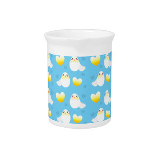 Cute Easter chick coming out of an egg pattern Drink Pitcher