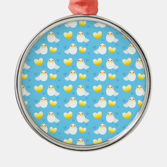 Cute Easter chick coming out of an egg pattern Metal Ornament