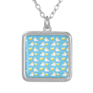 Cute Easter chick coming out of an egg pattern Silver Plated Necklace