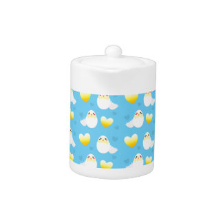 Cute Easter chick coming out of an egg pattern Teapot