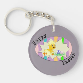 Cute Easter Chick Double-Sided Round Acrylic Keychain