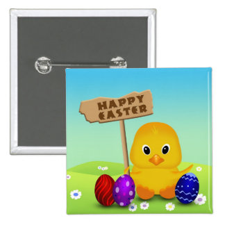 Cute Easter Chick with Sign - Button