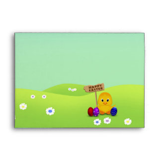 Cute Easter Chick with Sign - Envelope A7