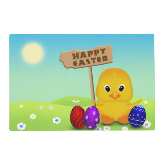 Cute Easter Chick with Sign - Laminated Placemat