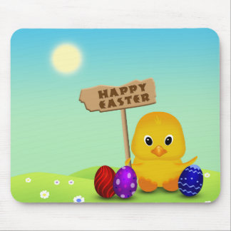 Cute Easter Chick with Sign - Mousepad
