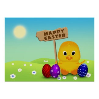 Cute Easter Chick with Sign - Poster Print
