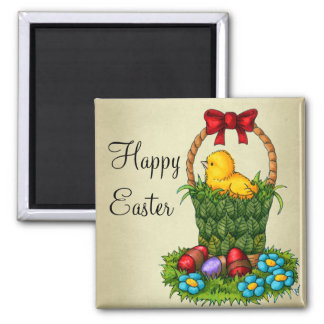 Cute Easter Chicken 2 Inch Square Magnet