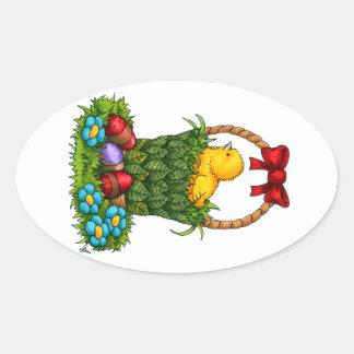 Cute Easter Chicken Oval Sticker