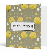 Cute easter chicks and little eggs pattern 3 ring binder