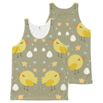Cute easter chicks and little eggs pattern All-Over-Print tank top