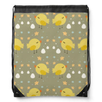 Cute easter chicks and little eggs pattern drawstring backpack