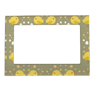 Cute easter chicks and little eggs pattern magnetic picture frame