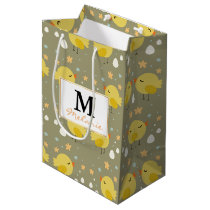Cute easter chicks and little eggs pattern medium gift bag