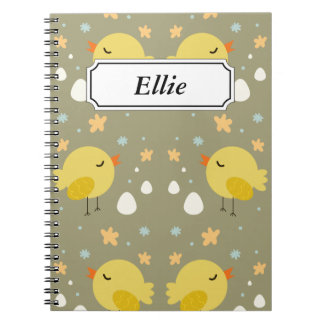 Cute easter chicks and little eggs pattern notebook