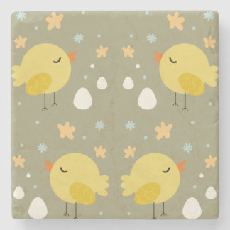 Cute easter chicks and little eggs pattern stone coaster