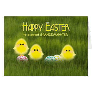 Cute Easter Chicks and Speckled Eggs in the Grass Card