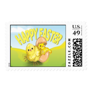 Cute Easter Chicks Happy Easter Postage Stamps