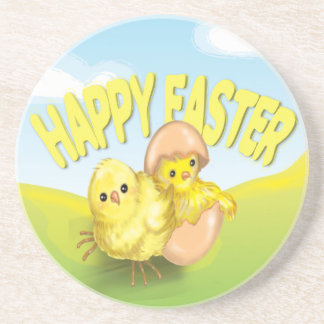 Cute Easter Chicks Happy Easter Sandstone Coaster