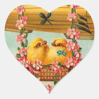Cute Easter Chicks Heart Sticker