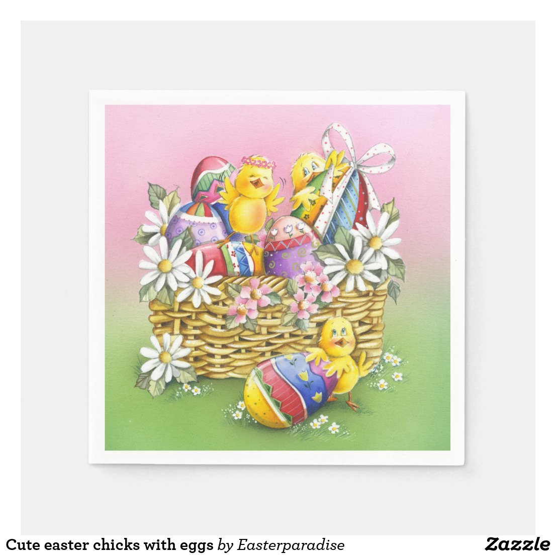 Cute easter chicks with eggs paper napkin