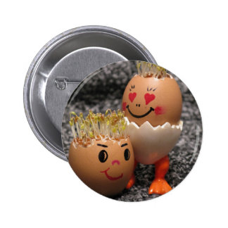 Cute Easter Couple- Eggs With Hair Button