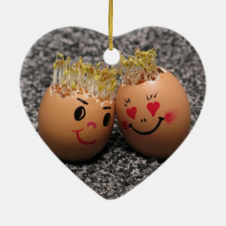 Cute Easter Couple- Eggs With Hair Ceramic Ornament