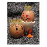 Cute Easter Couple- Eggs With Hair Postcard