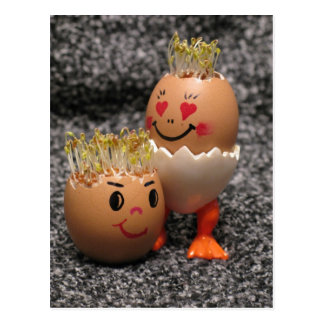 Cute Easter Couple- Eggs With Hair Postcard