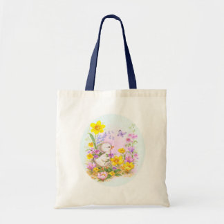 Cute Easter Duckiling Chick and Spring Flowers Tote Bag