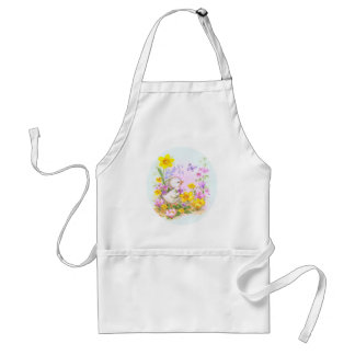 Cute Easter Duckling Chick and Spring Flowers Adult Apron