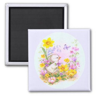 Cute Easter Duckling Chick and Spring Flowers Magnet