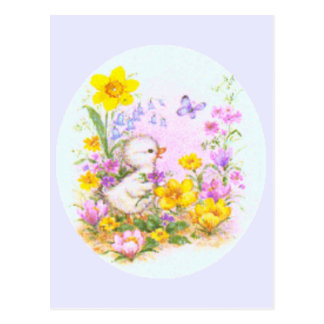 Cute Easter Duckling Chick and Spring Flowers Postcard