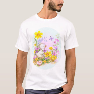 Cute Easter Duckling Chick and Spring Flowers T-Shirt