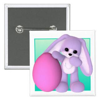Cute Easter Egg Bunny Button