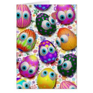 Cute Easter Eggs Cartoon Greeting_Cards