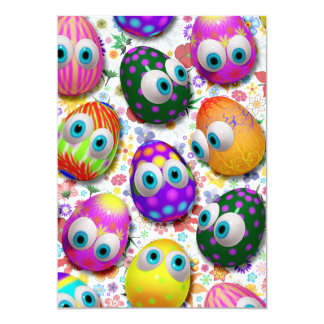 Cute Easter Eggs Cartoon Invitation