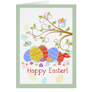 Cute Easter Eggs Frowners And Birds-happy Easter Card