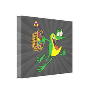 cute easter froggy frog with egg basket canvas print