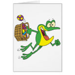 cute easter froggy frog with egg basket greeting card