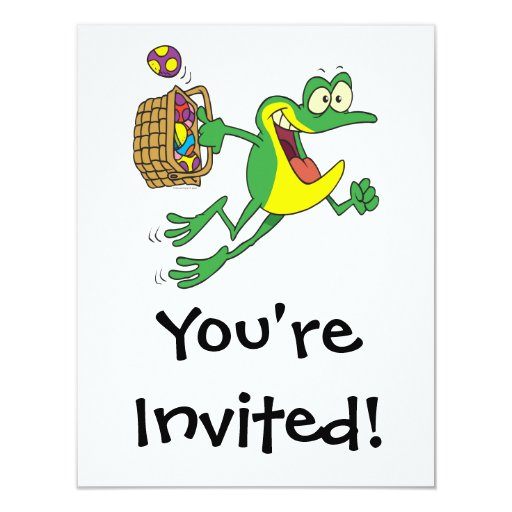 cute easter froggy frog with egg basket 4.25x5.5 paper invitation card