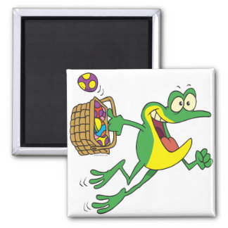 cute easter froggy frog with egg basket magnet