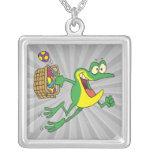 cute easter froggy frog with egg basket pendants
