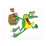 cute easter froggy frog with egg basket postcard