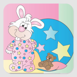 Cute Easter Girl Bunny Bedtime Drawings Square Sticker