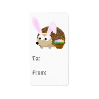 Cute Easter Hedgehog Label
